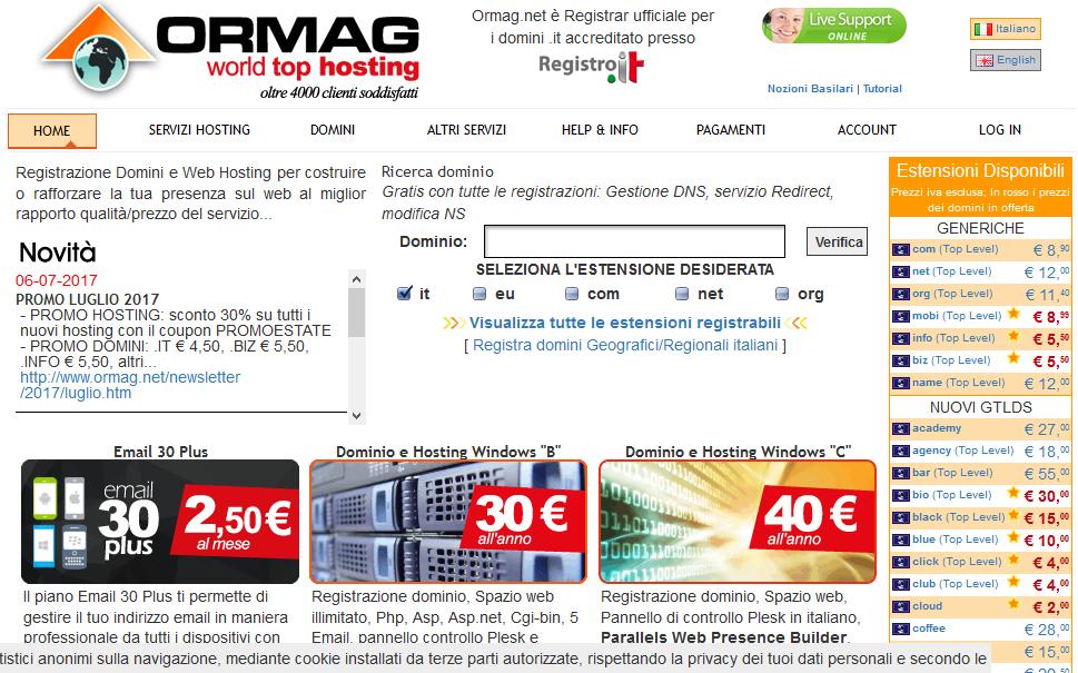 Guida per la creazione del profilo-dominio su Ormag.net